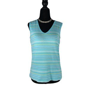 ☘️3/$30☘️ DENVER HAYES Aqua Striped Tank M